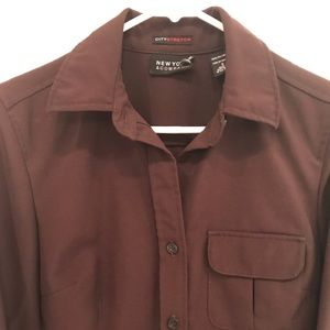 New York & Co Brown Button Up Stretch Shirt Size S